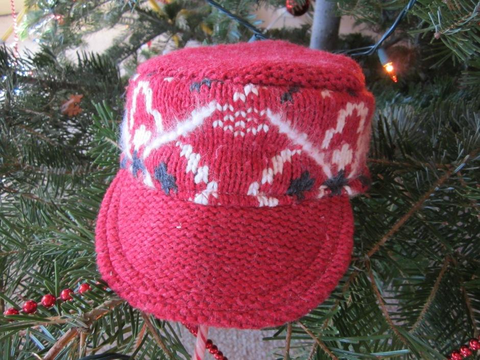 red sweater hat refashion tutorial 050