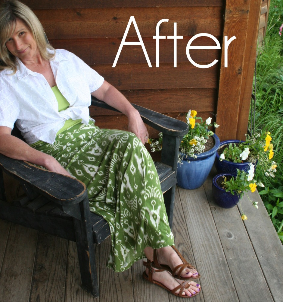 DIY Green Maxi Skirt Refashion Tutorial After 6