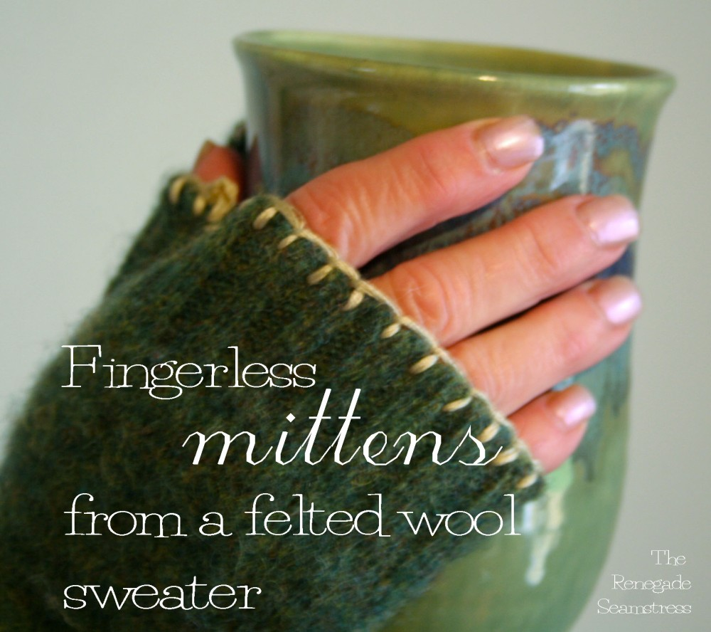 Fingerless mittens from an old felted sweater (1/6)