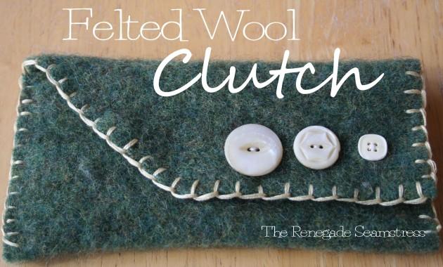 felted wool clutch purse