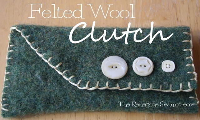 felted wool clutch purse