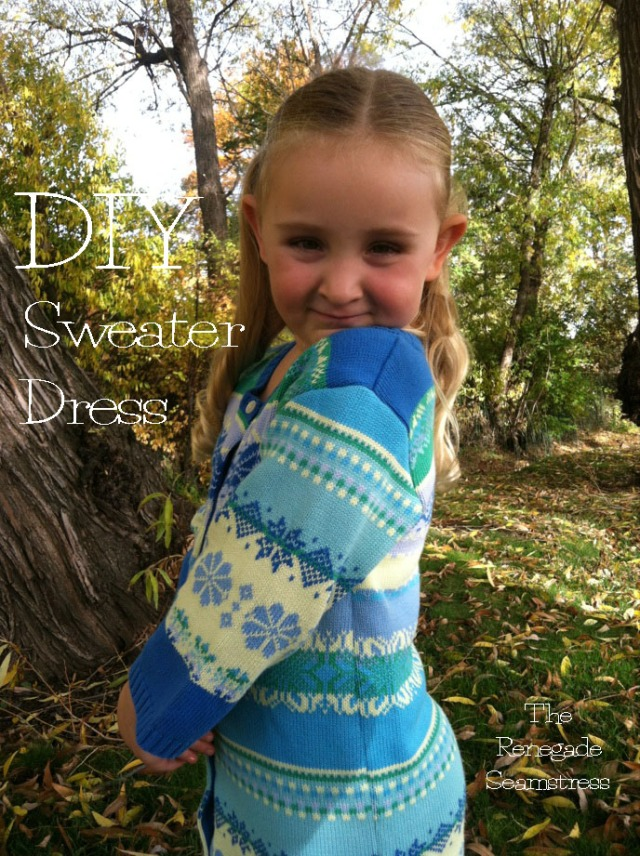 Little Girl's Sweater Dress upcycled From an Adult Sweater