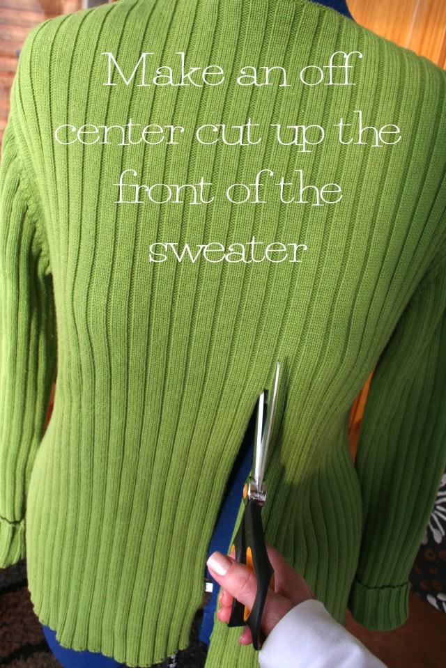 Pullover to cardigan refashion tutorial2