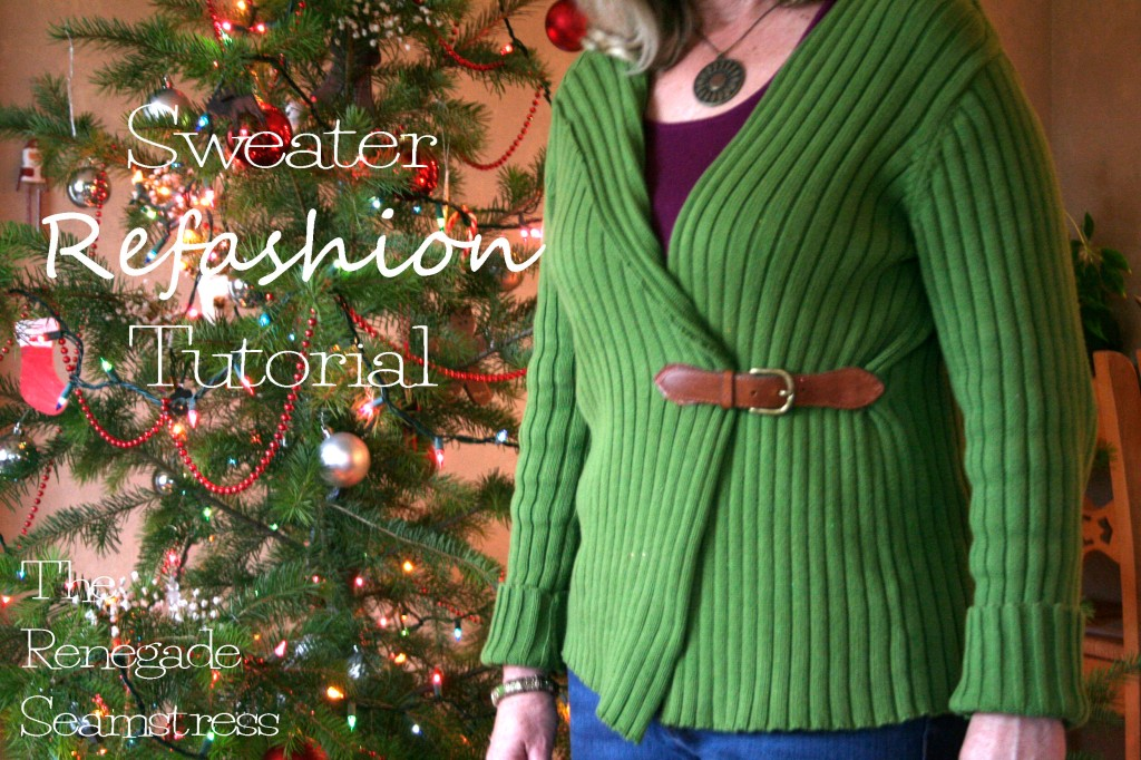 Pullover to cardigan refashion tutorial6