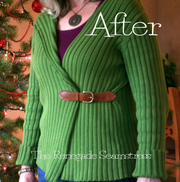 Pullover to cardigan refashion tutorial7jpg