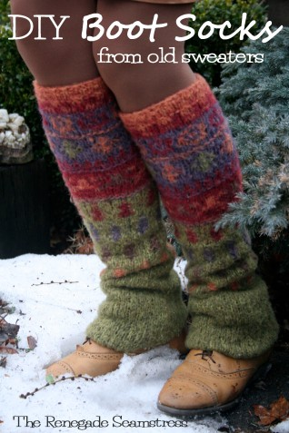 Upcycle a thrift store sweater to cozy warm boot socks with this new sew tutorial by the Renegade Seamstress