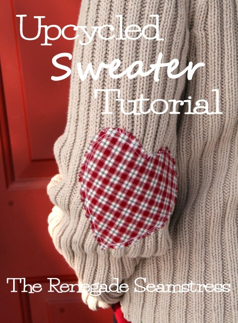 Upcycle a thrift store sweater with this easy to follow photo tutorial by the Renegade Seamstress just in time for Valentine's Day.