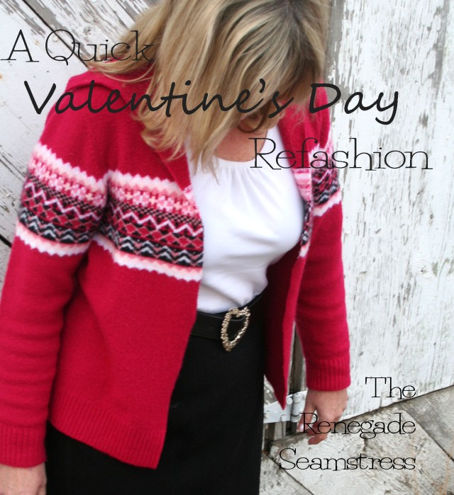 Easy Valentine's Day Sweater refashion