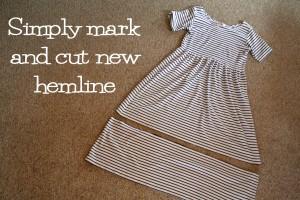 Black and white striped t shirt dress refashion