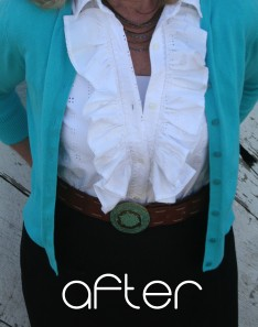Upcycled white ruffle shirt