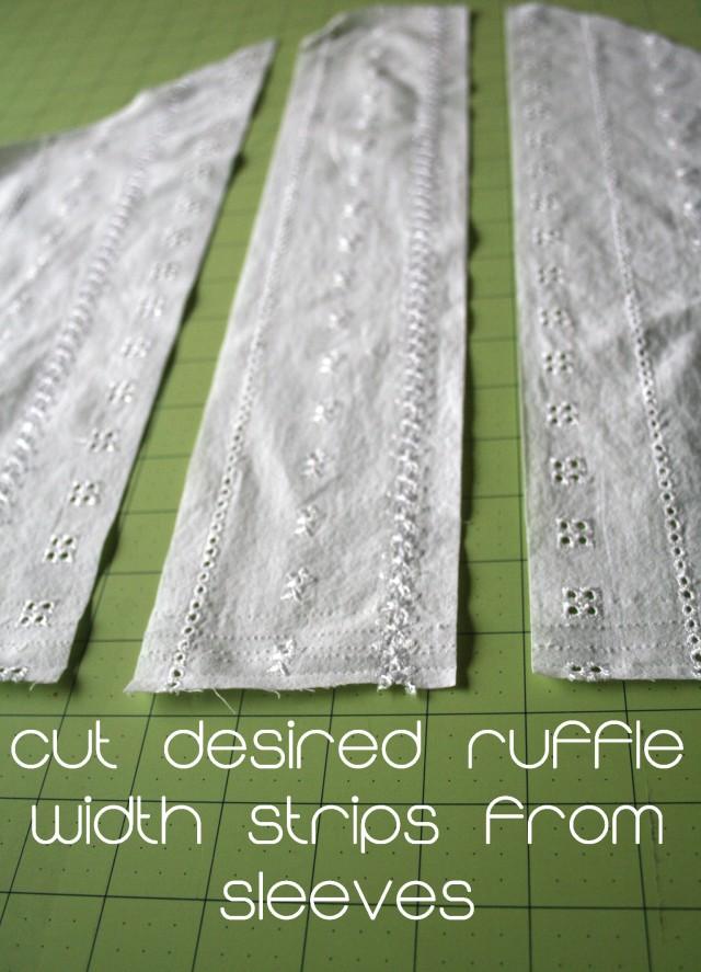 Upcycled white ruffle shirt