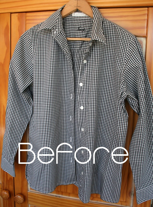 Refashion a man's shirt to a Flounce Ruffle