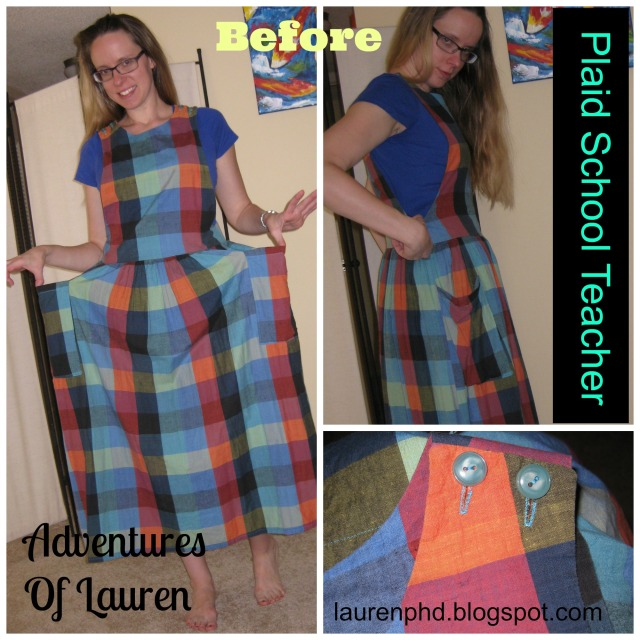 plaid refashion lauren before