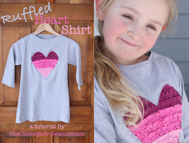 DIY Ruffled heart t-shirt