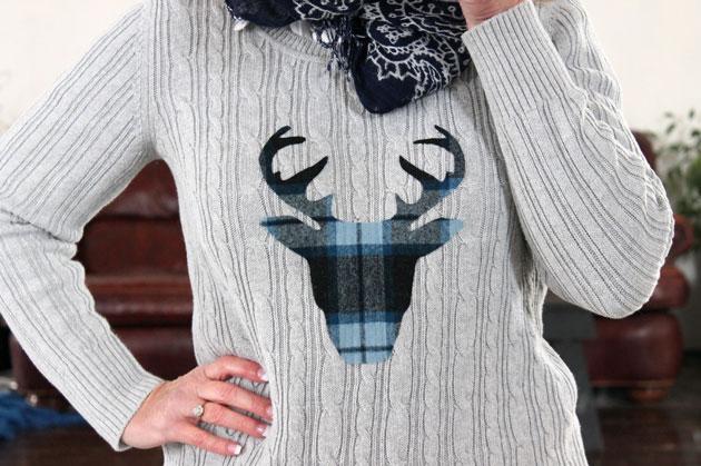 DIY: Deer Head Silhouette Sweater