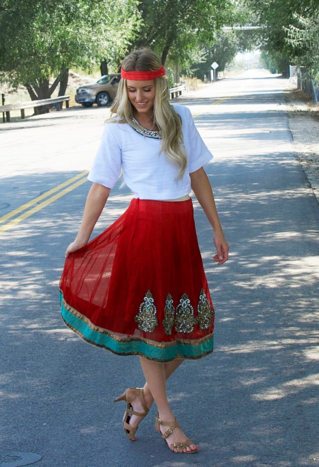 boho red down