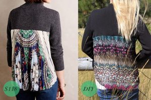 Before and after Pleated back sweater