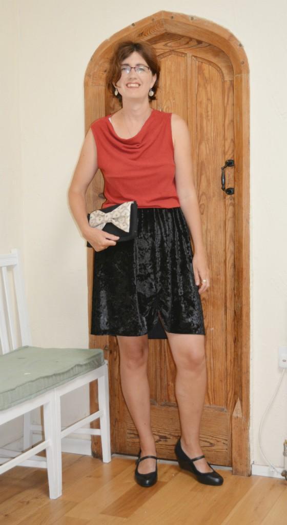 refashion runaway shortened and gathered skirt