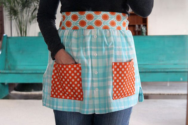 Apron made from a man's shirt for Mother's Day