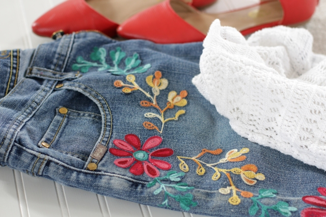 embroidered jeans for Mother's Day