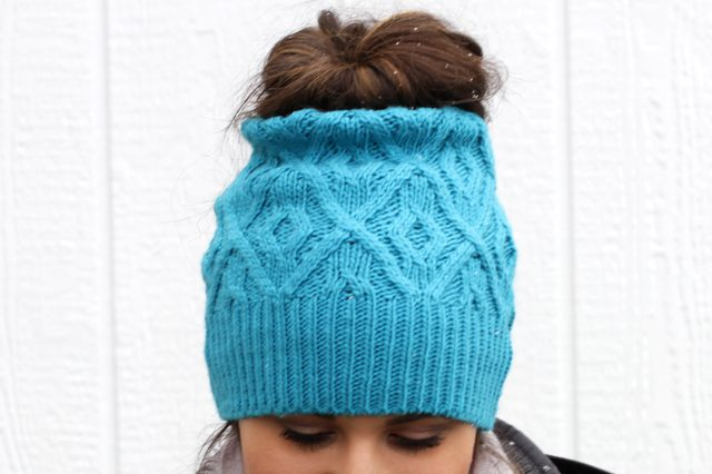 935bc062dcc How to look great and avoid hat hair this winter. Make your own messy bun