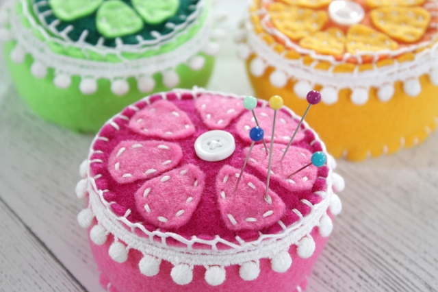 felt citrus pin cushions for Mother's Day