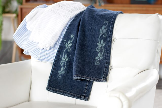 Give your plain jeans some personality by using a stencil and bleach to add some modern tattoo-like designs