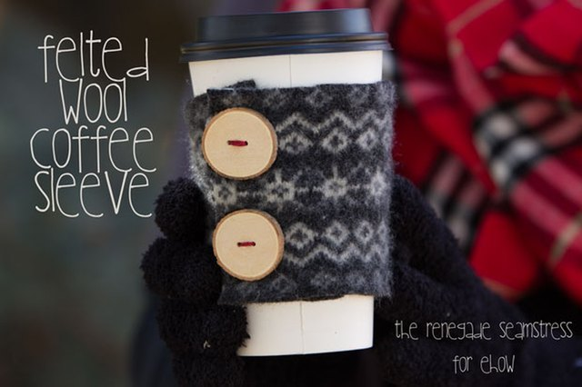 DIY felted wool coffee cozy