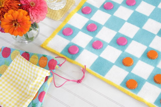 diy fabric travel checkerboard game