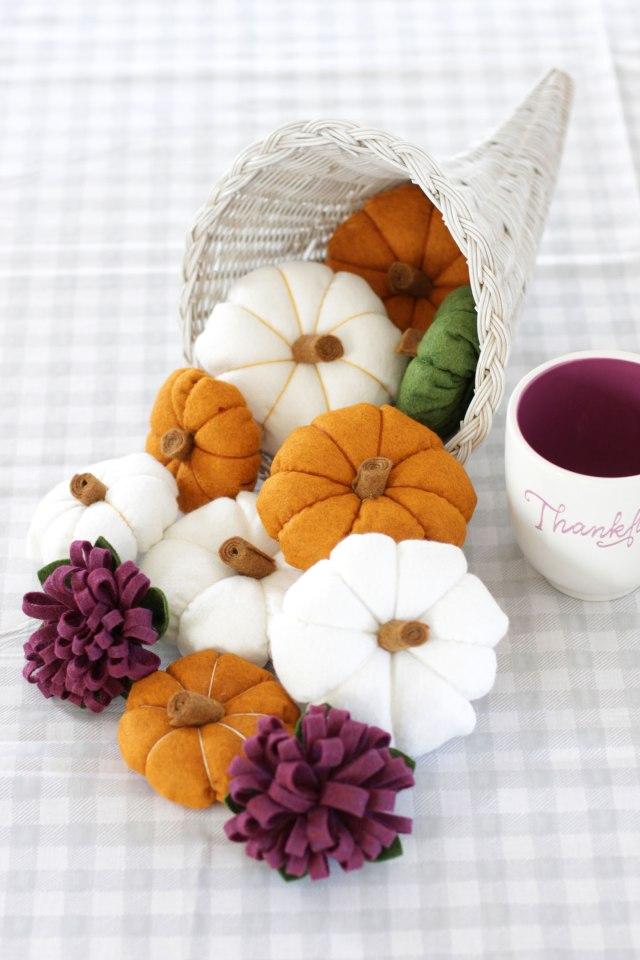 diy modern fall felt cornucopia