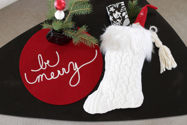 upcycled sweater stocking finished