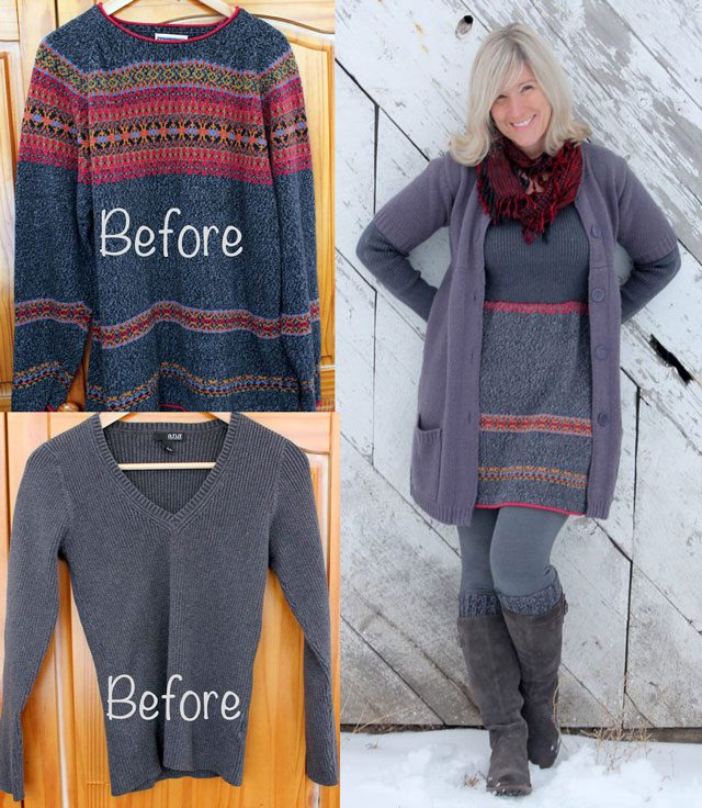 Create a cute sweater dress from two old sweaters