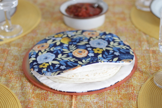 finished DIY fabric tortilla warmer