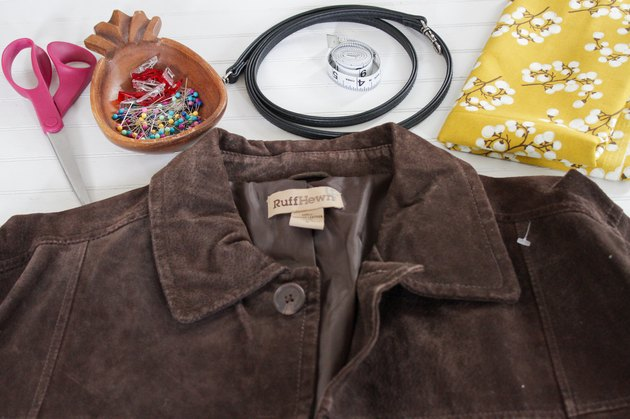 materials needed for How to Turn a Suede Jacket Into a Crossbody Bag