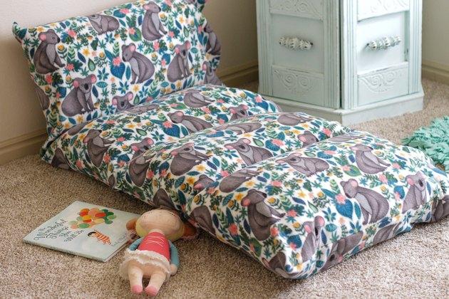 finished DIY Fleece Floor Pillow Mat