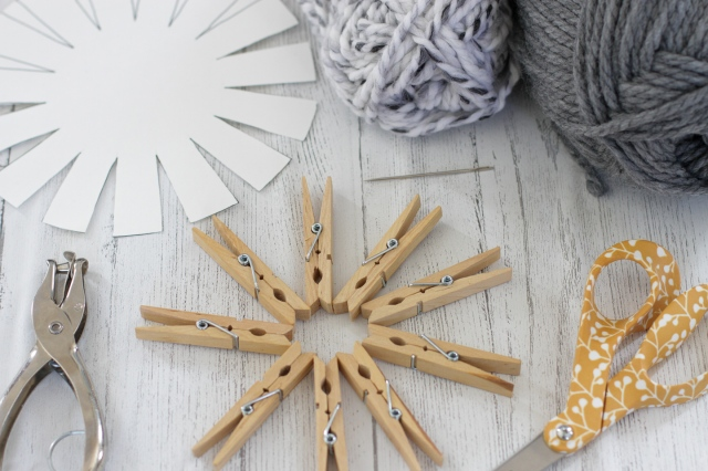 materials needed for DIY cardstock and yarn basket weaving
