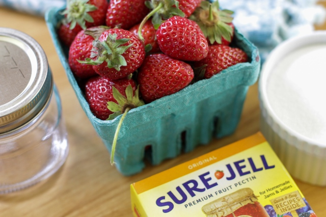 supplies needed to make and preserve strawberry jam
