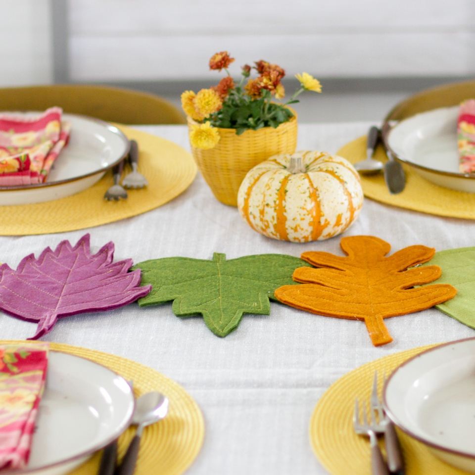 finished DIY colorful felt fall leaf table runner