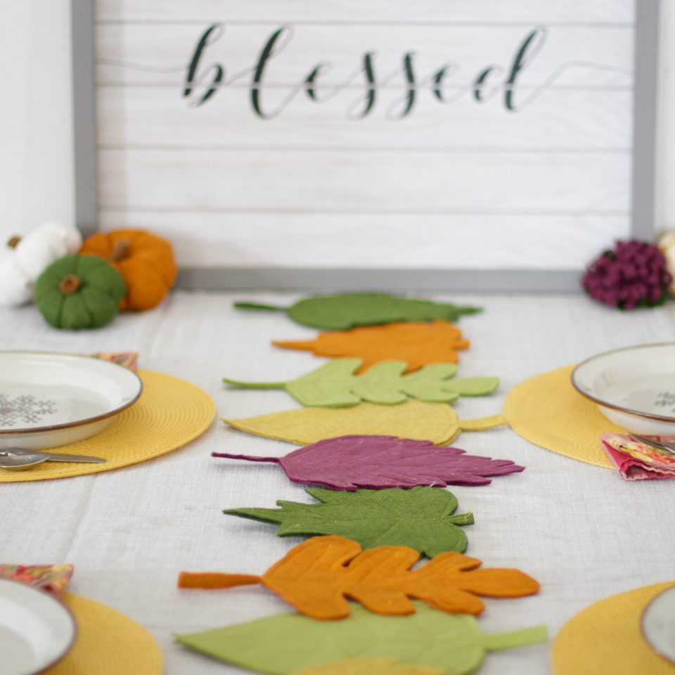 finished colorful diy felt fall leaf table runner
