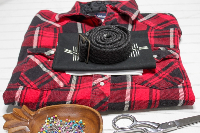 materials need for diy tote bag made from an upcycled flannel shirt