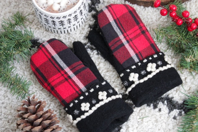 DIY mittens made from an upcycled flannel shirt