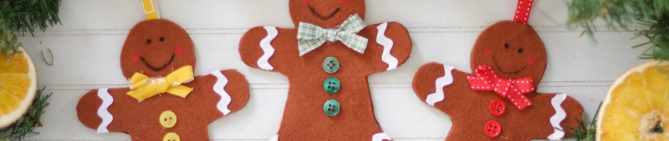 finished felt gingerbread men