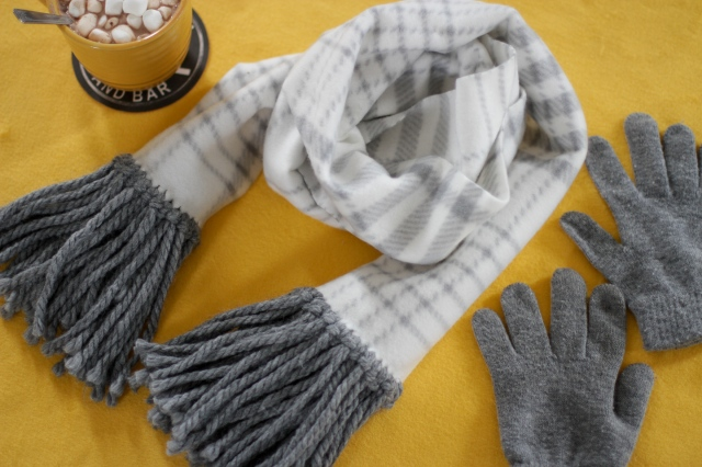 diy fleece fringe scarf flat lay